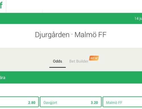 Få 100 kr att spela för på Malmö – Djurgården