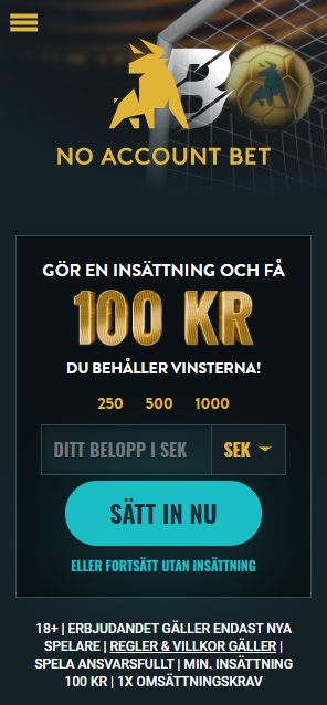 No Account Bet Bonus